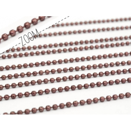 Wine red ball chain (1 m) - 1.5 mm