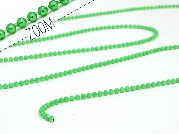 Metallic grassgreen ball chain (1 m) - 1.5 mm