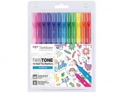 Acheter Set de 12 feutres Tombow double pointe TwinTone - Rainbow - 20,09€ en ligne sur La Petite Epicerie - Loisirs créatifs