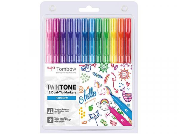 Acheter Set de 12 feutres Tombow double pointe TwinTone - Rainbow - 20,09€ en ligne sur La Petite Epicerie - 100% Loisirs cr...