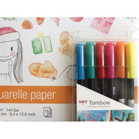 Acheter Set aquarelle Noël - 6 feutres ABT et un bloc - 29,99€ en ligne sur La Petite Epicerie - Loisirs créatifs