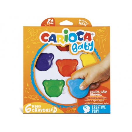 Acheter Set de 6 Crayons 1+ - Carioca Baby Teddy - 3,99€ en ligne sur La Petite Epicerie - Loisirs créatifs