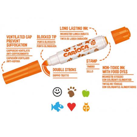 Acheter Set de 6 feutres double pointe - Carioca Stamperello - 4,29€ en ligne sur La Petite Epicerie - 100% Loisirs créatifs