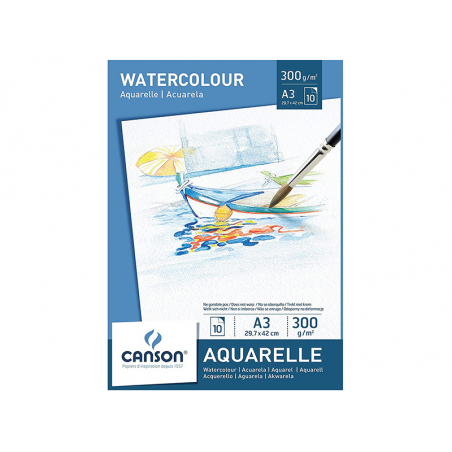 Acheter Bloc papier blanc Canson Aquarelle A3 - 300g/m² - 11,99€ en ligne sur La Petite Epicerie - Loisirs créatifs