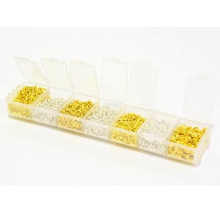 Acheter Boite de 4 tailles de perles à écraser - argent et or - 18,90€ en ligne sur La Petite Epicerie - Loisirs créatifs