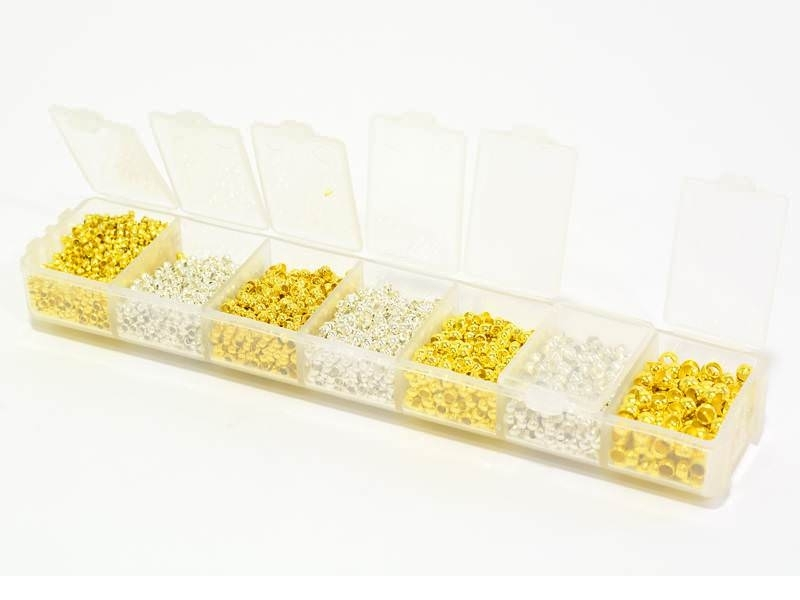 Box with crimp beads in 4 sizes - silver and gold