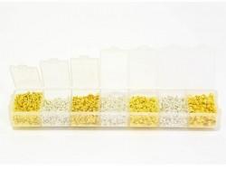Boite de 4 tailles de perles à écraser - argent et or