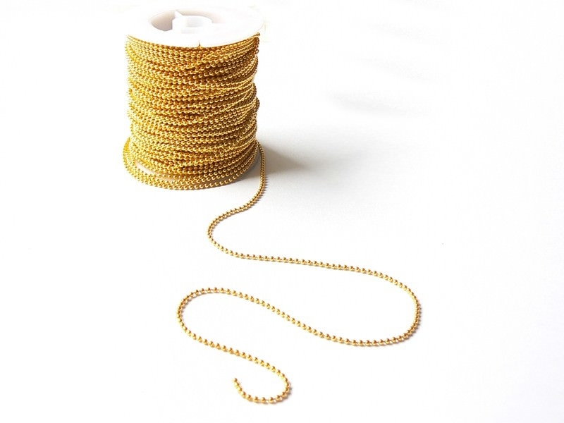 Gold-coloured ball chain (1 m) - 1.5 mm