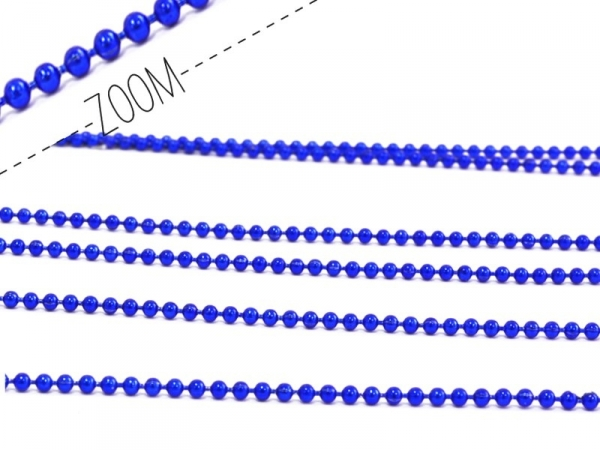 Metallic electric-blue ball chain (1 m) - 1.5 mm