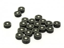 Set of 20 citrus fruits beads - black