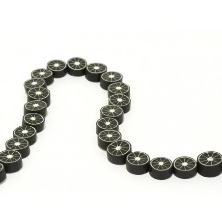 Set of 20 citrus fruits beads - black