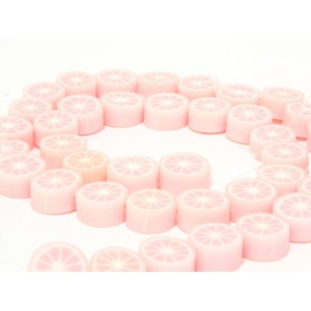 Set of 20 citrus fruits beads - pale pink