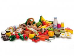 Acheter Énorme assortiment de fruits et légumes en bois pour dinette et jeux de marchande - 99,99€ en ligne sur La Petite Ep...