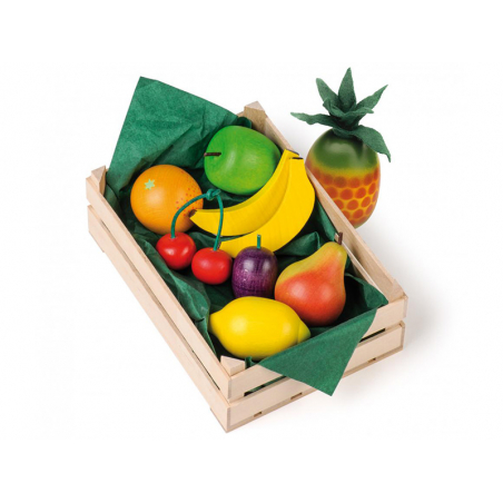 Acheter Assortiment de 9 fruits en bois dans une cagette - 19,99€ en ligne sur La Petite Epicerie - 100% Loisirs créatifs