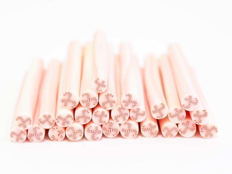 Candy cane cane - white-coated