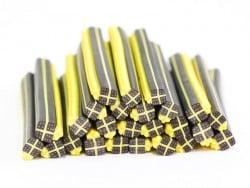 Cane cadeau noir et jaune- en pâte polymère - à trancher  - 1