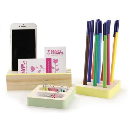 Acheter Set de 4 accessoires de bureau en bois - 9,99€ en ligne sur La Petite Epicerie - 100% Loisirs créatifs