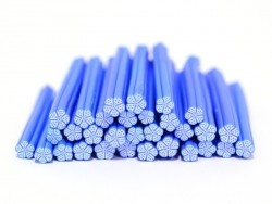 Flower cane - white, with blue contours, and blue polka-dots