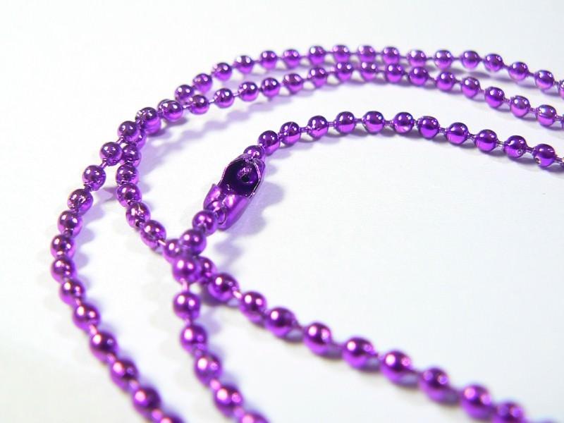 Collier chaine bille violet foncé - 60 cm  - 1