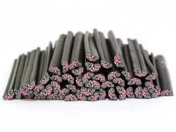 Cane aile de papillon rose en pâte fimo - à découper en tranches  - 1