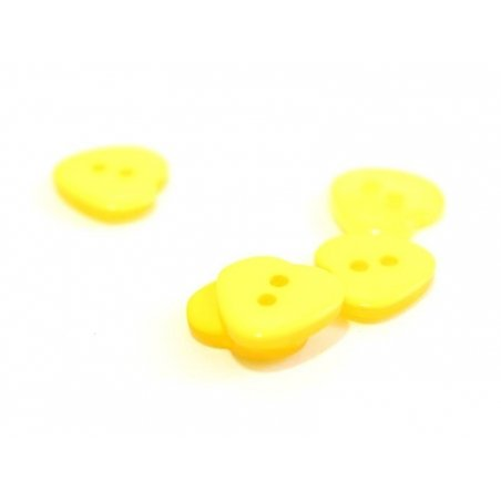 Plastic button - Pearlescent yellow heart (12 mm x 11 mm)