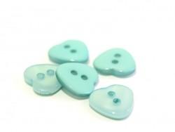 Bouton plastique - Coeur nacré bleu 12x11mm