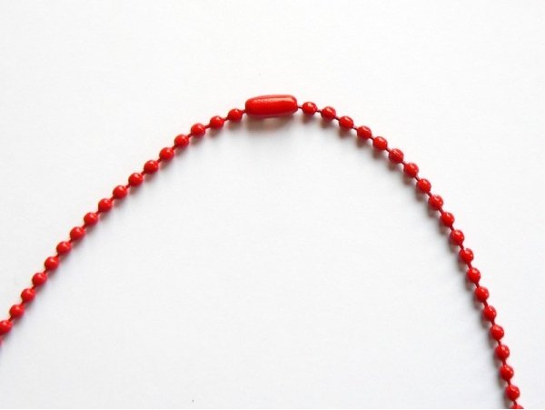 Collier chaine bille rouge - 60 cm