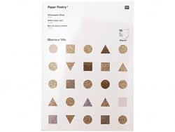 Acheter Bloc de papier à paillettes A4 - blanc - doré - argenté - 10,99€ en ligne sur La Petite Epicerie - Loisirs créatifs