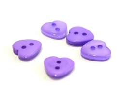 Plastic button - Pearlescent violet heart (12 mm x 11 mm)