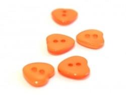Plastic button - Pearlescent orange heart (12 mm x 11 mm)