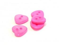 Bouton plastique - Coeur nacré rose fushia 12x11mm