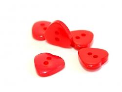 Bouton plastique - Coeur nacré rouge 12x11mm