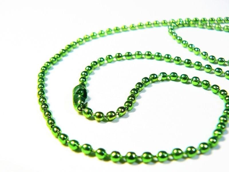 Collier chaine bille verte - 60 cm