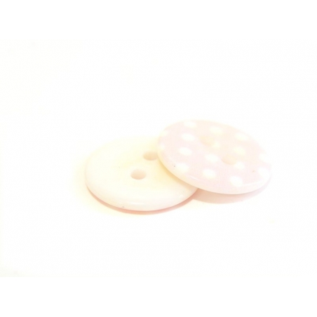 Round plastic button (18 mm) - pink with white polka dots