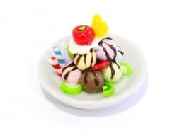 Magnificent miniature ice-cream sundae - round