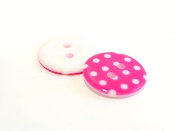 Round plastic button (18 mm) - fuchsia with white polka dots