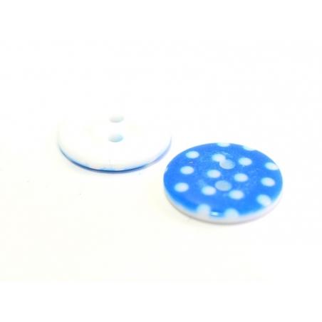 Acheter Bouton plastique rond 18 mm - bleu à pois blanc - 0,49€ en ligne sur La Petite Epicerie - Loisirs créatifs