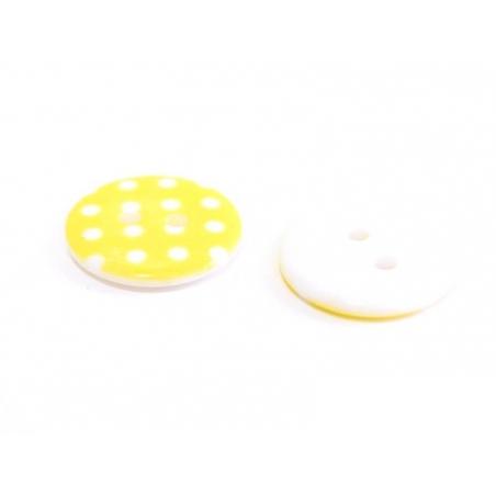 Acheter Bouton plastique rond 18 mm - jaune à pois blanc - 0,49€ en ligne sur La Petite Epicerie - Loisirs créatifs