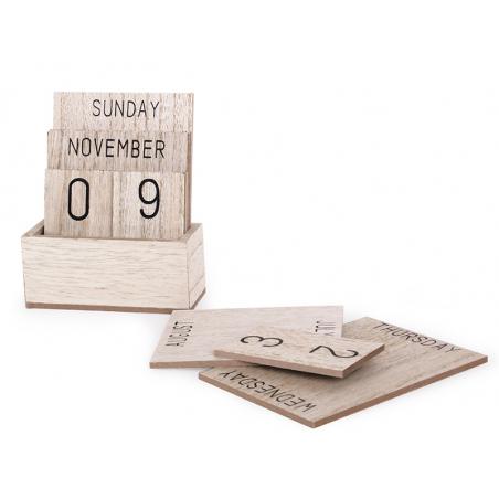 Acheter Calendrier perpétuel de bureau en bois - beige - 14,99€ en ligne sur La Petite Epicerie - Loisirs créatifs
