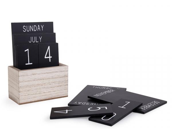 Acheter Calendrier perpétuel de bureau en bois - noir - 14,99€ en ligne sur La Petite Epicerie - Loisirs créatifs