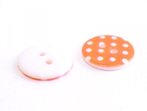 Acheter Bouton plastique rond 18 mm - orange à pois blanc - 0,49€ en ligne sur La Petite Epicerie - Loisirs créatifs