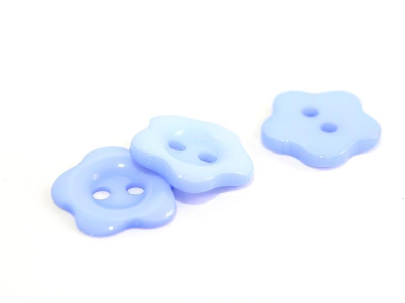 Plastic button (14 mm) in the shape of a flower - baby blue