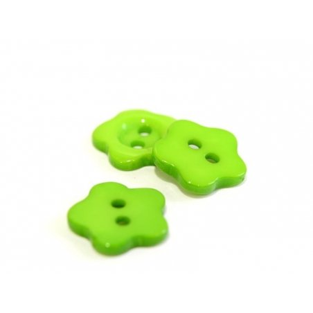 Plastic button (14 mm) in the shape of a flower - green