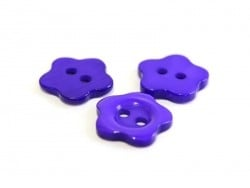 Plastic button (14 mm) in the shape of a flower - violet