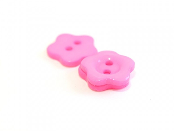 Plastic button (14 mm) in the shape of a flower - pink
