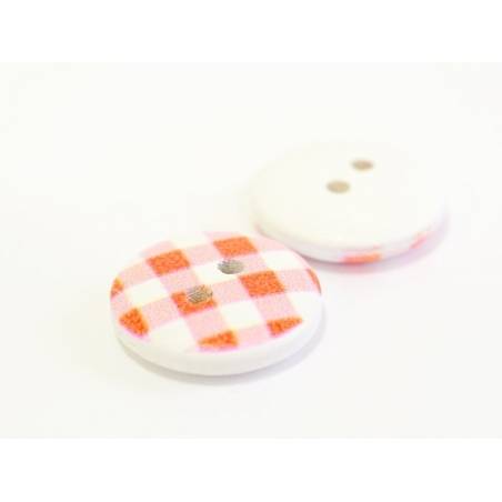Wooden button (15 mm) - Red gingham pattern
