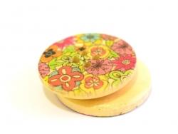 Bouton en bois 25 mm - imprimé fleurs pop