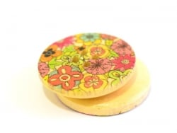 Wooden button (25 mm) - bright-coloured flowers