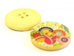 Wooden button (25 mm) - Vintage floral print