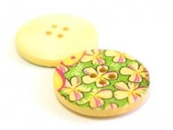 Holzknopf (25 mm) - Gartenblumen